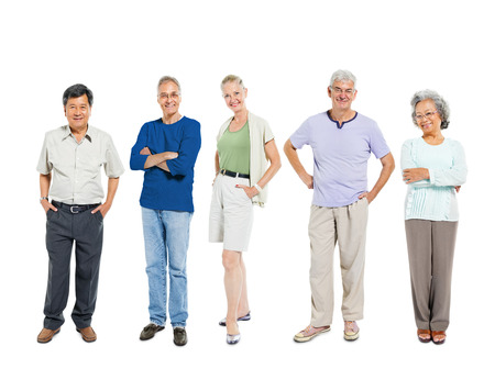 old asian: Mullti-ethnic senior group of people Stock Photo