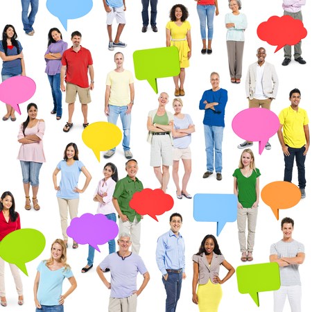 Group of Multi Ethnic Diverse People with Speech Bubbles photo