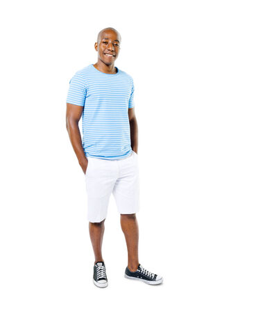 standing man: Confident Casual African Man in a White Background