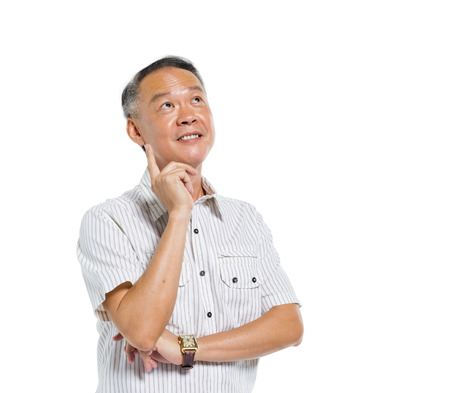 contemplate: Cheerful Mature Asian Man Thinking