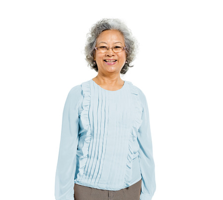 casual: Cheerful Old Casual Asian Woman