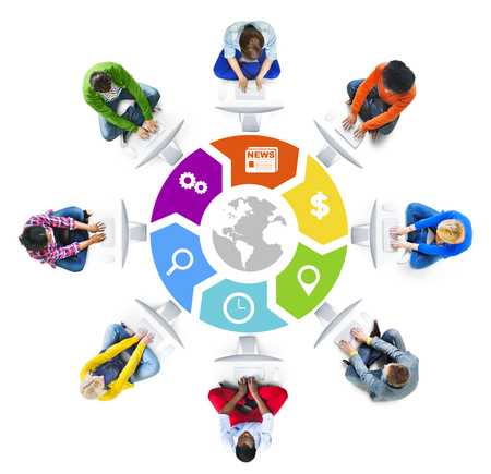 People Social Networking and Global Network Concept photo