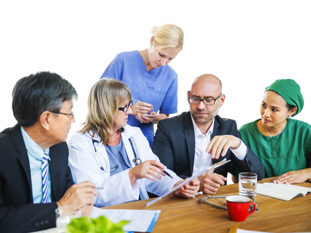 healthcare worker: Healthcare Workers Having a Discussion Stock Photo