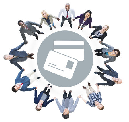 Cheerful Business People Looking Up with Credi Card Symbol photo
