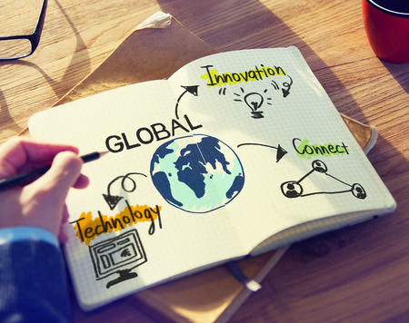 global innovation: Businessman with Global Business Concept Stock Photo