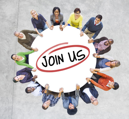 Group of Diverse People In a Circle Inviting photo