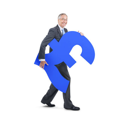 mature business man: Mature Business Man Holding A Currency Symbol