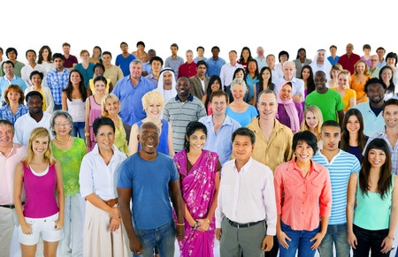 people together: large multi-ethnic group of people