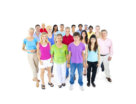mixed age: large multi-ethnic group of people