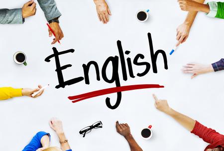Multi-etnische groep van kinderen en Engels Concept Stockfoto