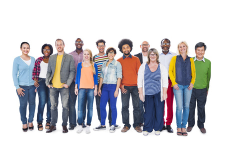 diversity: Group Of Multi-Ethnic People Isolated On White Stock Photo