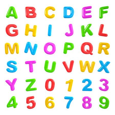 pila bautismal: Inglés Colorido alfabeto y números.