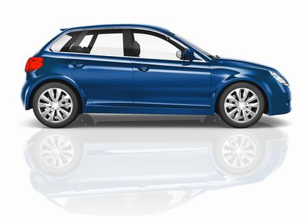 electric car: Blue 3D Hatchback Car Illustration