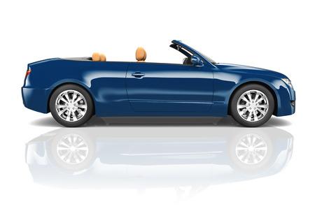 Immagine 3D di Blue Convertible Car Archivio Fotografico