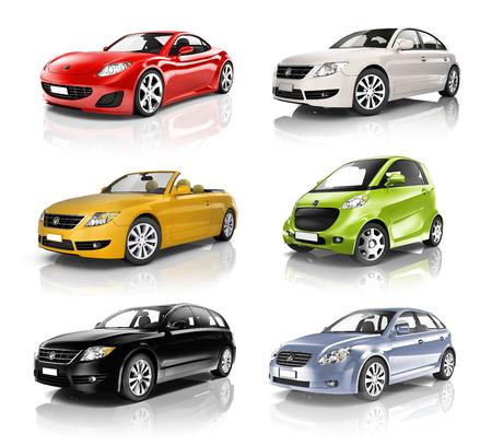 Groep Diverse Auto's in een rij