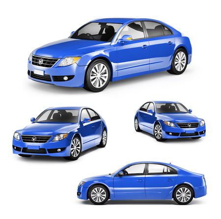 new motor car: Image of a Blue Car on Different Positions Stock Photo