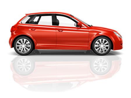 shiny car: Shiny red sedan studio shot.