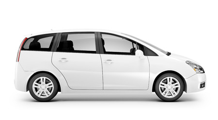 isolated  on white: Studio shot of three-dimensional white sedan.
