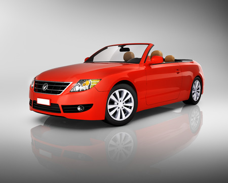 3d mode: Studio shot of three-dimensional red convertible.