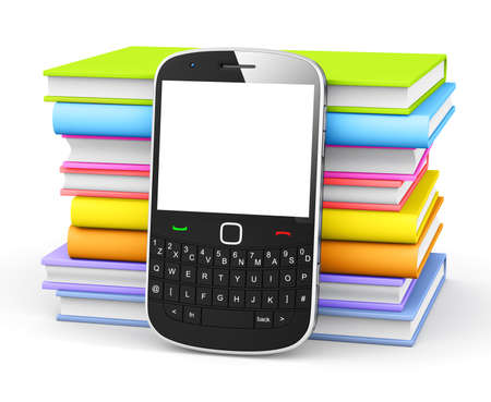 Mobile phone with books. photo