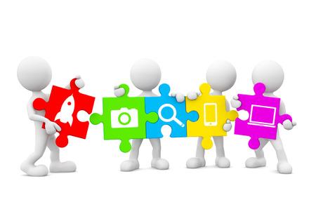 Dreidimensional Bild von Weiß Menschliche Ikonen-Holding Jigsaw Stück mit Multimedia Icons Standard-Bild