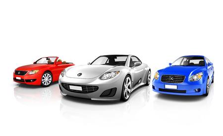 3 つの多色エレガントな車のグループ