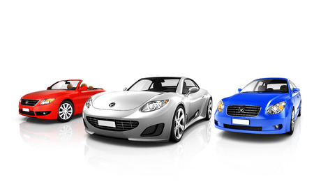 Group of Three Multicolored Elegant Cars  Stok Fotoğraf