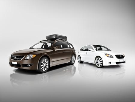 黒と白の車の三次元画像