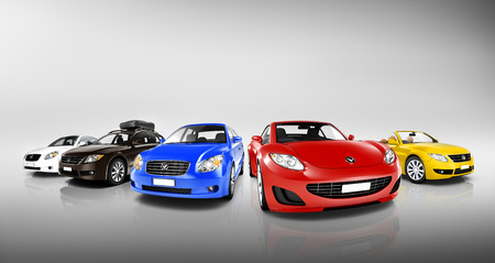 Group of Multi Colored Modern Cars  Stock Photo