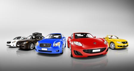 Groupe des Multicolore voitures modernes Banque d'images - 31306591