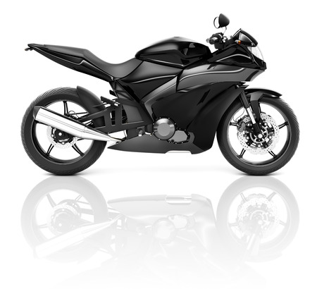 3d mode: Black Sport Motorcycle. Stock Photo