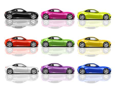 色とりどりの 3 D の近代的な車のコレクション