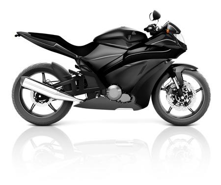 Imagen 3D de una moto moderna Negro