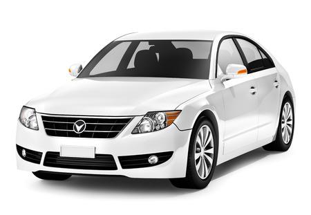 electric car: White smart car.