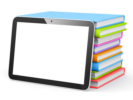 tablet with stack of books. photo