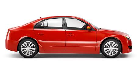 赤色のセダン車。