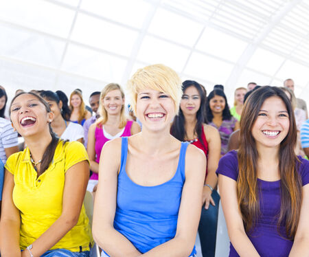 Large Group of Student in The Conference Room Stock Photo