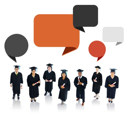 Successful Graduation Student with Speech Bubble photo