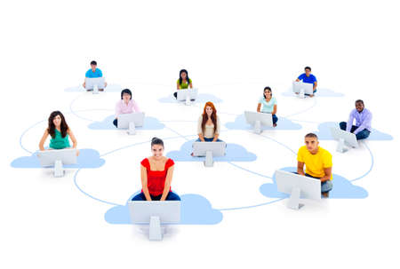 community cloud: Group of connected multi-ethnic people sitting on a cloud with computer.