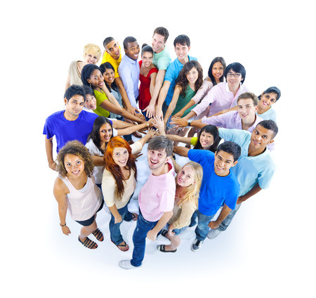 people holding hands: Large Group of People Holding Hand Stock Photo