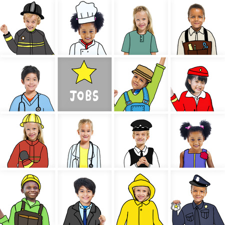asian business group: Multiethnic group of Children with Various Jobs Concepts Stock Photo