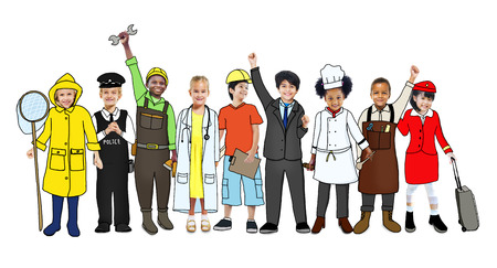 various occupations: Multiethnic Group of Children with Various Occupations Concept
