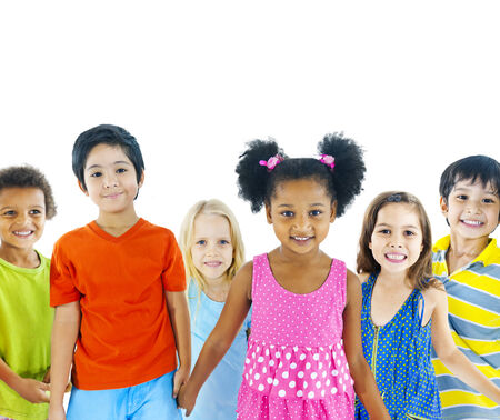 mixed race girl: Kids holding hand Stock Photo