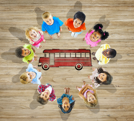 Multiethnic Group of Children with Back to School Concept photo