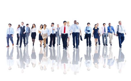 white collar worker: Diverse Business People Working and Walking Stock Photo