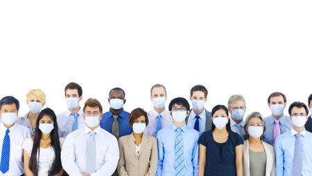 Large Group of Business People Keeping Silence Stock Photo