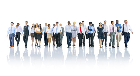 business people walking: Multi-ethnic officer workers