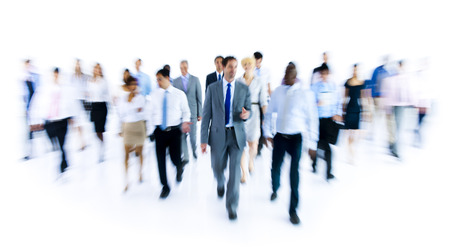 Large Group of Business People Walking photo