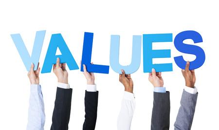 Multiethnic Business People Holding Values photo