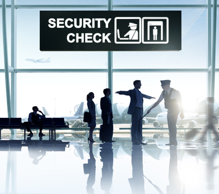 global security: Group of People in the Airport Stock Photo